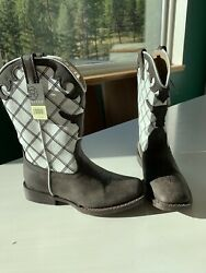 Ropers Cowboy Boots Youth Size 1 Steerhead White Brown NWT