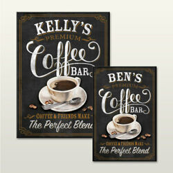 PERSONALISED CAFE KITCHEN COFFEE SIGN CHALKBOARD EFFECT WALL PLAQUE NOVELTY GIFT GBP 16.00