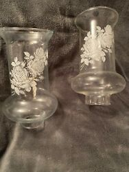 Set Of Two Vintage Replacement Globes Shades 7 1 8quot; Tall White Rose Design EUC $39.99