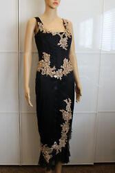 MANDALAY Satin Cocktail Long Dress in Black w Gold Lace Embellishments $129.40