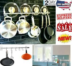 Pot And Pan Rack Hook Holder Hanging Kitchen Organizer Wall Mount Rail System $20.07