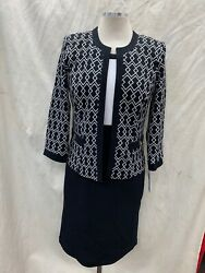STUDIO ONE DRESS AND JACKET NOT LINED STRETCH FABRIC SIZE 16 NAVY LENGTH 40#x27; $69.99