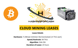 98THs 24 HOURS Bitcoin Cloud Mining Contract ANTMINER S9 BTC S17 S15 HASHING $27.67