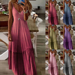 Women Casual Loose Tie Dye Strappy Long Maxi Dress V Neck Boho Beach Sundress $23.99