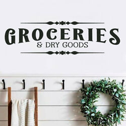 GROCERIES AND DRY GOODS Pantry Rustic Farmhouse Home Wall Decal Words Decor 30quot; $15.00