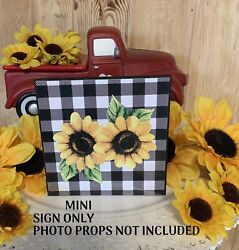 SUNFLOWERS MINI SIGN TIERED TRAY FARMHOUSE RUSTIC HOME BUFFALO PLAID DECOR $7.95