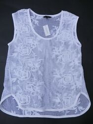 New Banana Republic Gorgeous Lace Beach Cover up Top Shirt Blouse White M $19.00