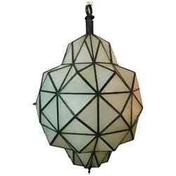 Art Deco White Milk Chandelier Pendant or Lantern in Dome Shape