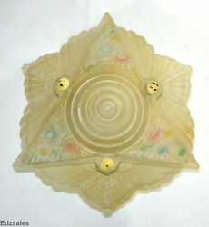 Art Nouveau Floral Glass Painted Antique Lamp Shade $350.00