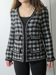 CHANEL FANTASY TWEED JACKET SZ 42 US 8 Black Gray Signature M8199 New