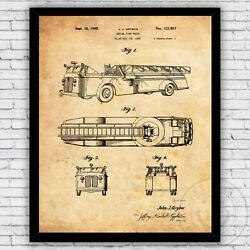 Firefighter Fire Truck Aerial Ladder Patent Print Decor Size and Frame Options $17.00