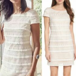 ELIZA J NORDSTROM Cocktail Career Work Sheath Short Dress 8 Ivory Lace Fringe $49.00