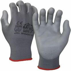 WOLF Ultra Thin Grey Work Gloves Polyurethane Palm Coated Nylon Shell 12 Pairs $11.95