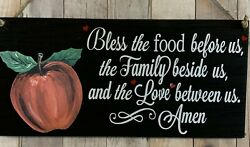 APPLE KITCHEN BLESSING PRAYER SIGN BLESS FOOD WALL HOME COUNTRY DECOR SUMMER $11.95