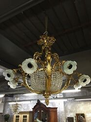 Stunning Matching Pair French Style Antique Vintage Crystal Chandeliers