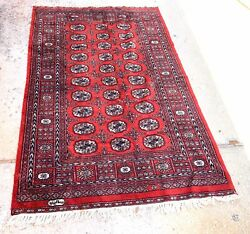 "Vintage Oriental Rug 80"" X 50"" Handmade Carpet Red Black $249.00"
