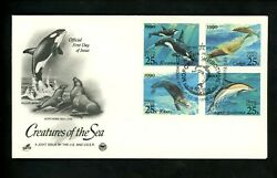 Postal History Russia #5933 5936 FDC Sea Creatures 1990 Joint US #2508 2511 $6.99