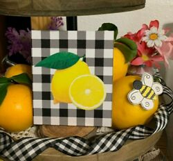LEMON HOME MINI SIGN TIERED TRAY FARMHOUSE BUFFALO PLAID LEMONS RUSTIC DECOR $7.50