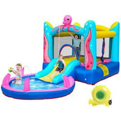 Safety Water Slide Pool Inflatable Bounce House Kids Jumping Castle with Blower $175.79