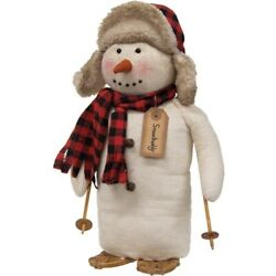 country lodge skier Christmas large SNOWBUDDY Snowman 14quot; doll w snowshoes poles $46.99