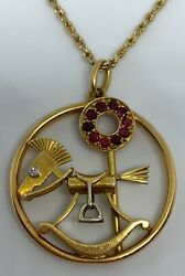Van Cleef & Arpels Diamond Ruby Gold Rocking Horse Charm Pendant & Rope Chain