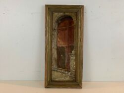 Vintage Possibly Antique Oil Painting on Canvas of European Large Door Signed $115.00