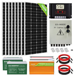 1600W 1200W 800W 600W 400W 200W Watt Solar Panel Kit For Home RV Marine Shed US $235.80