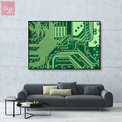 Canvas print wall art big poster Abstract Modern Decor Tech Motherboard Graphic $21.00