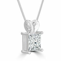 New 18K White Gold Princess Cut Solitaire Enhanced Diamond Pendant 2.55 CT HVS2