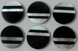 Vintage 12 of 9mm Round Button Inlaid Mother Pearl amp; Onyx Cabochon Cab Gemstone $10.77