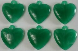 Vintage 12 of 20x22mm Japan Glass Jade Green Carved Heart Cabs Pendant Loop $11.49