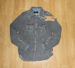 SCOTCH SHRUNK Designer Boys Gray Denim Shirt 8 years *NEW w Tag*