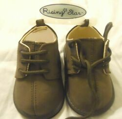 # CHILDRENS RISING STAR TODDLER Shoes Size 3. 9 12 MOS BROWN Boys NEW $10.99