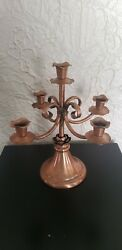 Vintage Gregorian Solid Copper Five Arm Candelabra Candle Holder $34.99