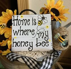 HOME IS WHERE MY HONEY BEE HAPPY MINI SIGN TIERED TRAY FARMHOUSE RUSTIC DECOR $7.95