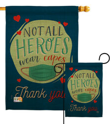 Thank You All Heroes Garden Flag Expression Not Wear Capes Mask Yard Banner $11.65