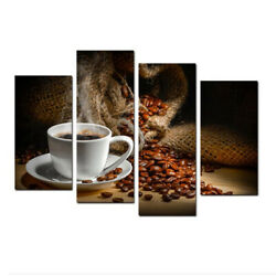 Kitchen Canvas Art Coffee Bean Coffee Cup Canvas Prints Wall Art Home Decoration $27.89