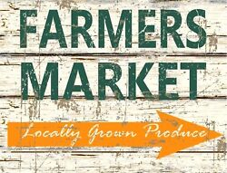 TIN SIGN quot;Farmers Market Woodquot; Outdoor Signs Rustic Wall Decor $7.35