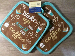 Home Collection Wake Up amp; Smell Coffee Themed Pot Holders Set of 2 7x7 inches $5.95