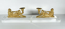Antique Pair Gold Gilt French Candleholder Reclining Woman on Lucite Base $395.00