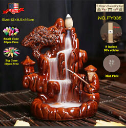 Ceramic Backflow Incense Cone Burner Moutain Waterfall FY036 amp; 10pcs Cones Gift $19.99