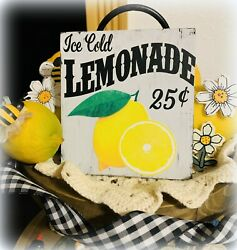 ICE COLD LEMONADE MINI SIGN TIERED TRAY FARMHOUSE LEMON RUSTIC HOME LEMON DECOR $7.95