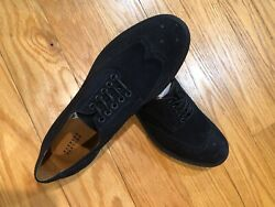 Barneys New York Navy Suede Wingtip Bluchers Shoes Size US 10M Made In Italy $74.99