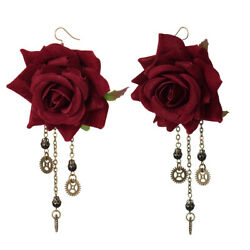 Girl Gothic Red Floral gear Pendant Earring Drop Dangle Steampunk Ear Hook EH1