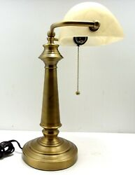 VTG Bankers Desk Lamp w Adjustable Glass Shade Heavy Brass Base Brushed Finish $49.99