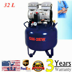 Portable Dental Air Compressor Oil Free Tank 32L Handpiece Noiseless Silent 850W $340.00