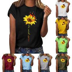 Women Sunflower Tops Ladies Short Sleeve Crew Neck Casual Blouse Shirt Plus Size $13.29