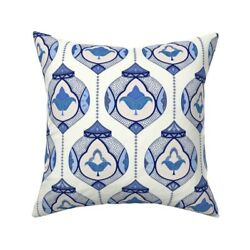 Moroccan Lamps Blue White Throw Pillow Cover w Optional Insert by Roostery $52.00