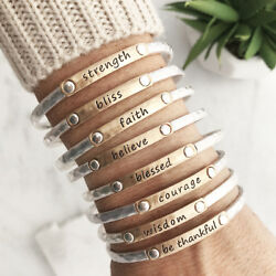 Inspiration Stacking Bangle bracelet Faith Blessed Believe Courage strength USA $10.75