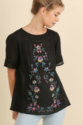 Umgee Floral Embroidered Boho Bohemian Blouse Top Black Flowers USA seller $29.96